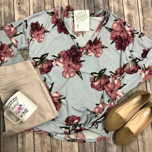 Floral V-Neck Cut Out Top