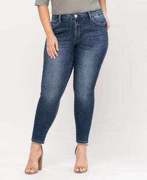Mid Rise Detail Ankle Skinny