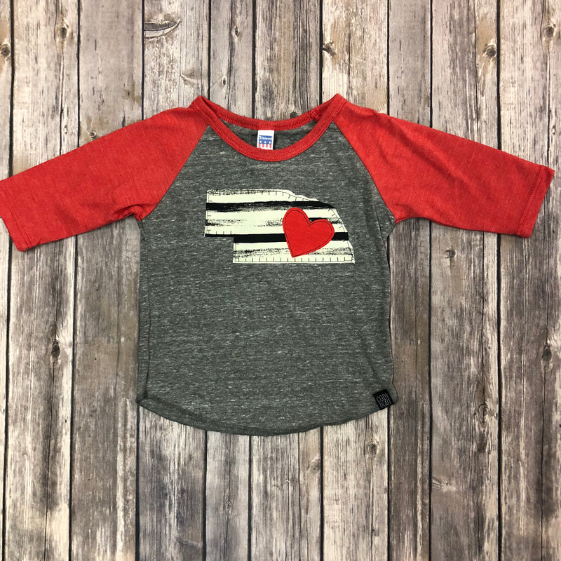 Nebraska State Raglan Sleeve-Stripes/Heart