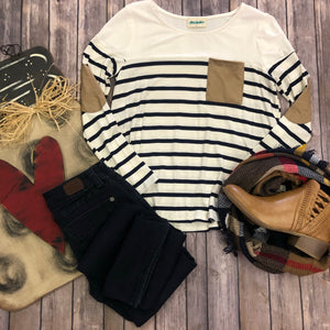 Striped Suede Pocket Top