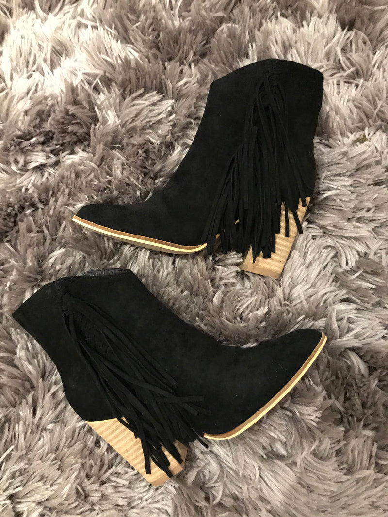 """Kinsley"" Fringe Ankle Boot"