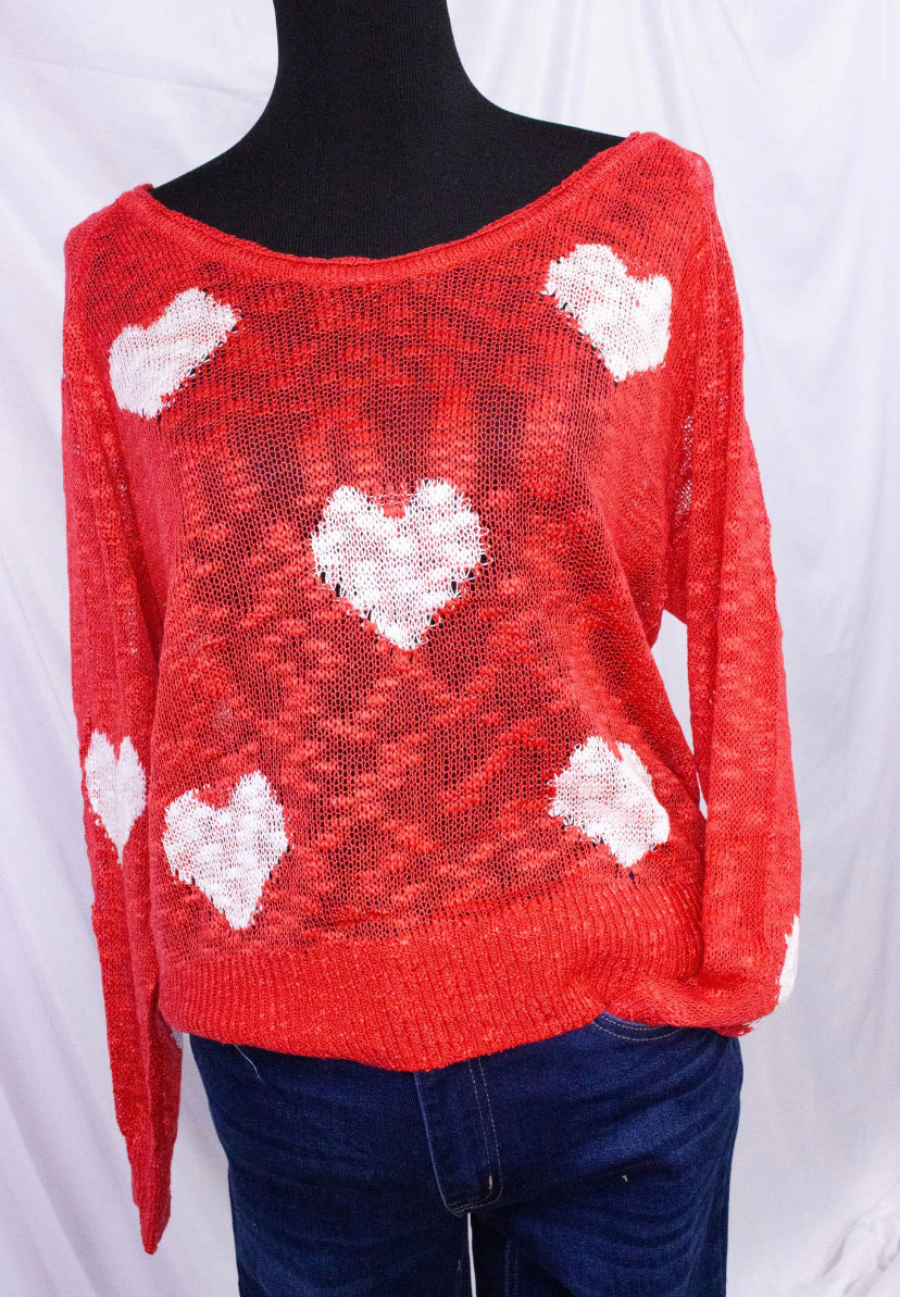Red White Hearts Sweater