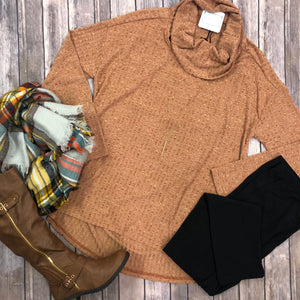 Cowl Neck Rib Knit Top