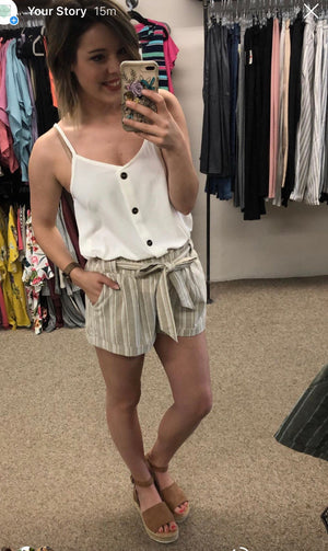 Paperbag Striped Shorts