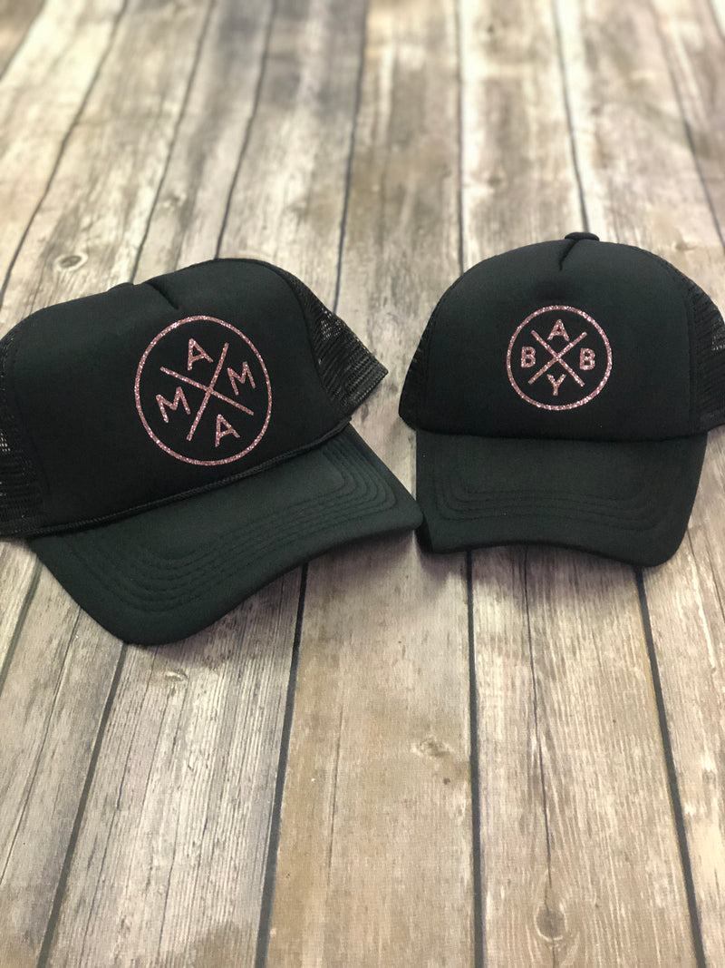 Mama/Baby Rose gold Trucker Hat