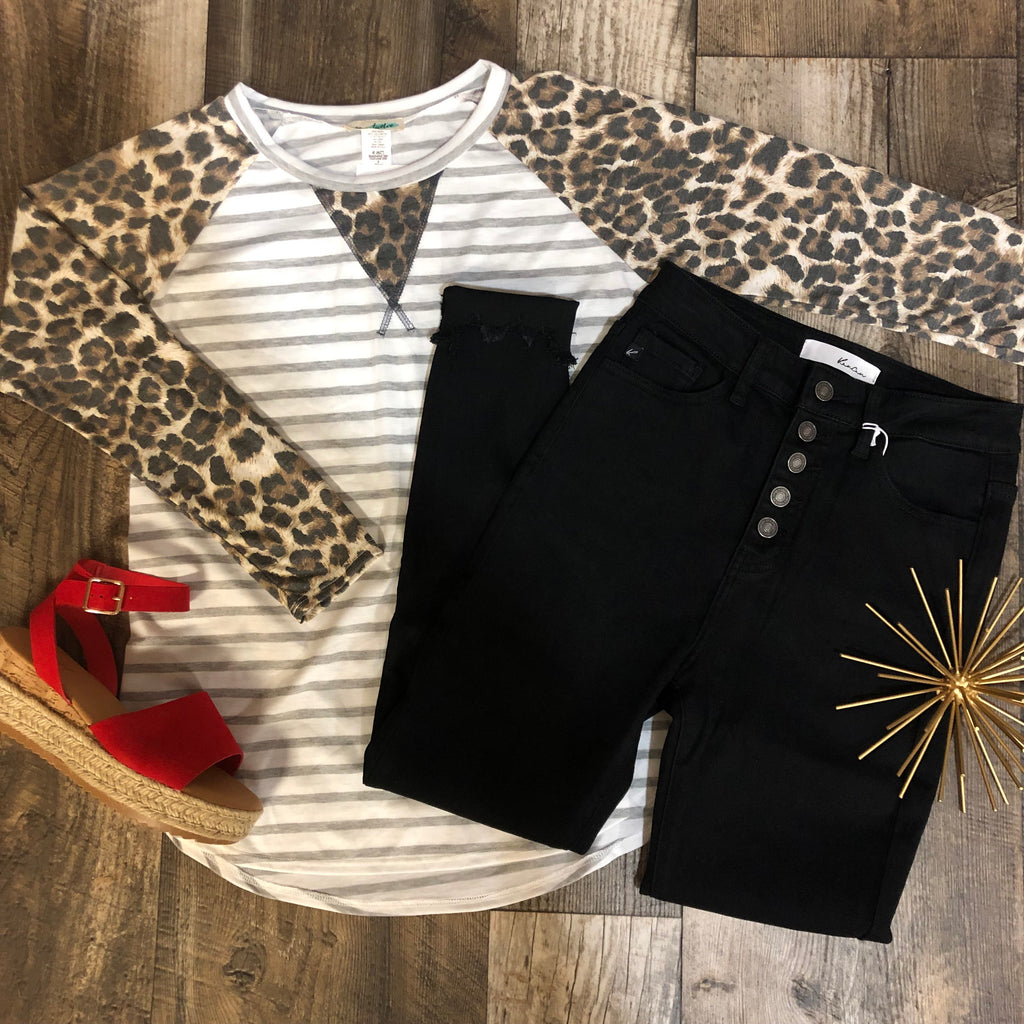 Leopard Sleeve Striped Top