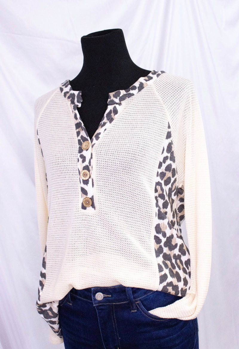 Long Sleeve Henely Top with Animal Print