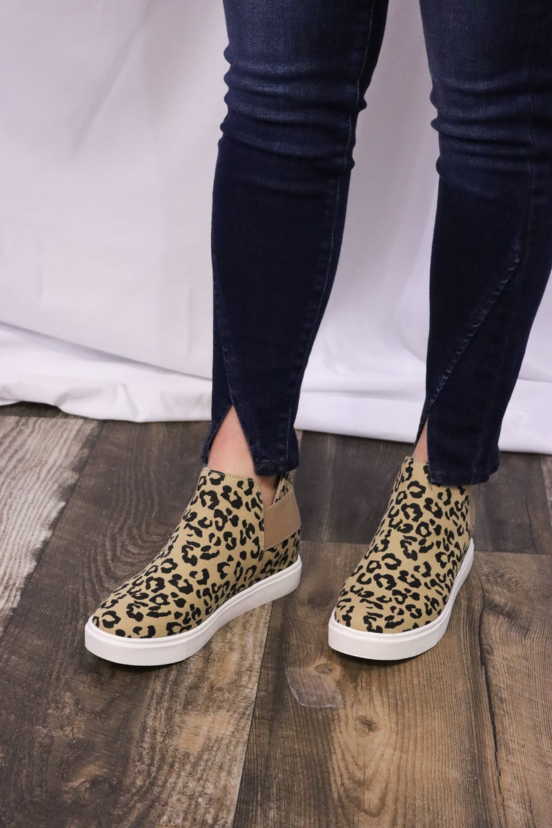 Leopard Tan Diana Wedge Sneaker