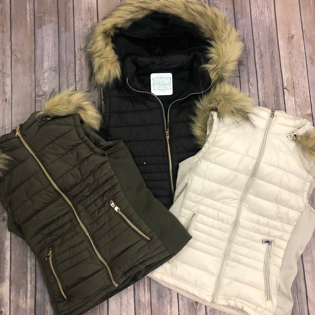Vest with Faux Fur Lined Hood