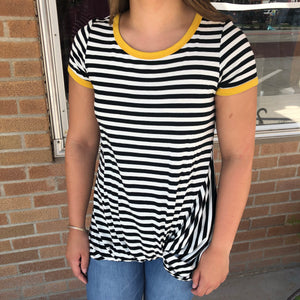 Front Knot Stripe Top