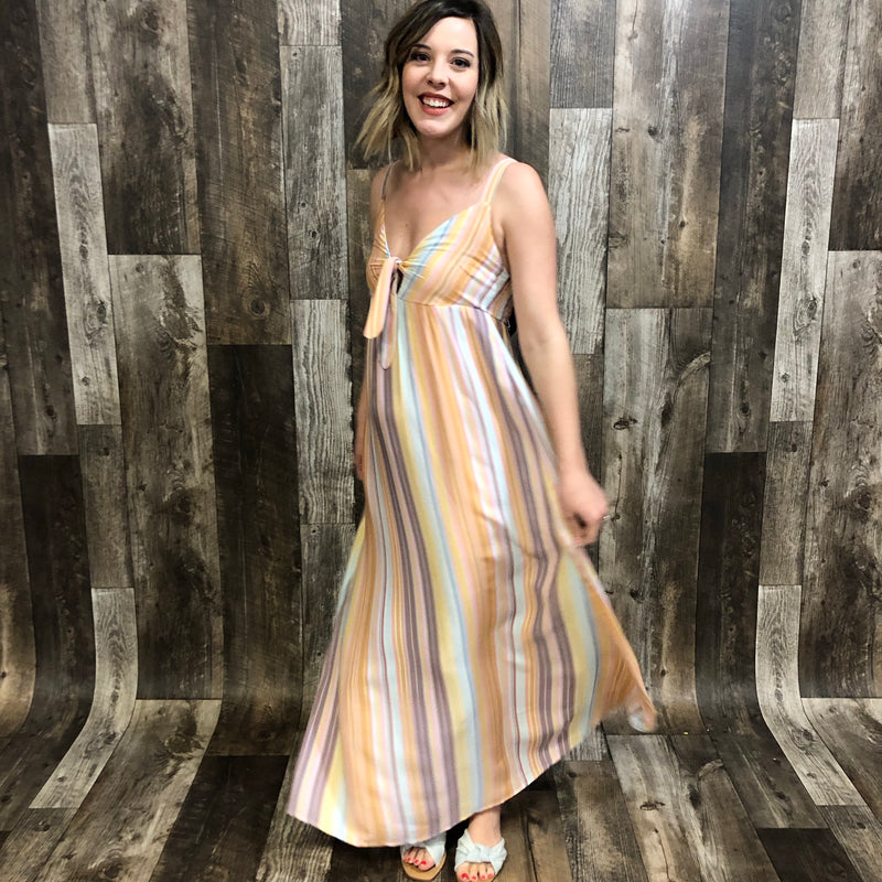 Front Tie Striped Maxi Dress