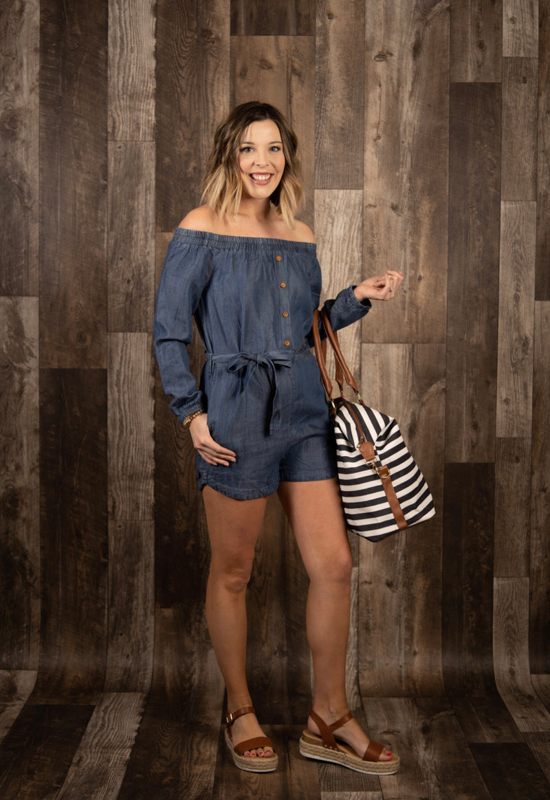 Off Shoulder Denim Romper
