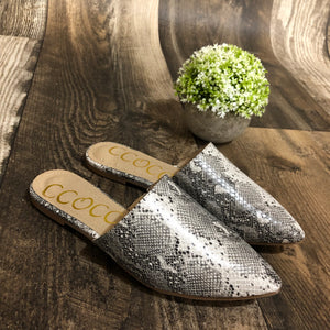 Lucy-Snake Skin Slide Shoes