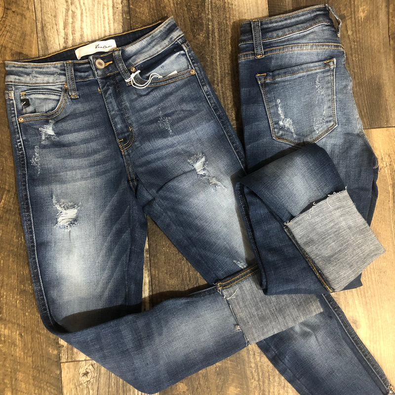 Kancan-Distressed Cuffed Jeans