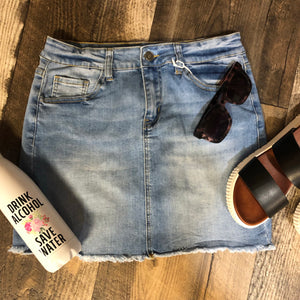 Denim Cut Off Skirt