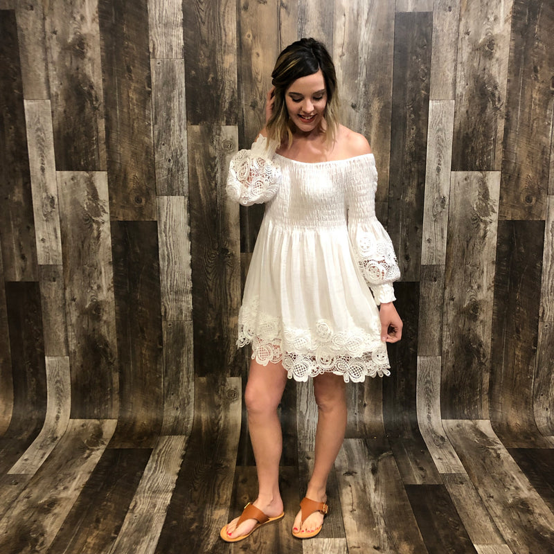 Off Shoulder Lace Hem Dress