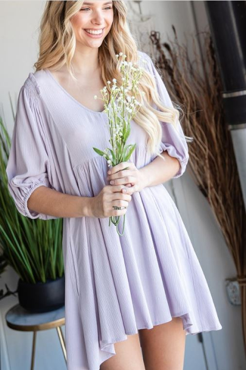 V-Neck Tunic Gauze Dress