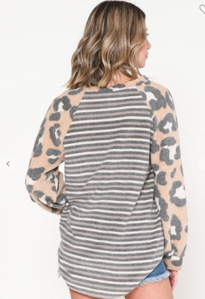 Striped Top w/animal print sleeves