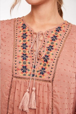 Dotted Fabric Embroidered Top