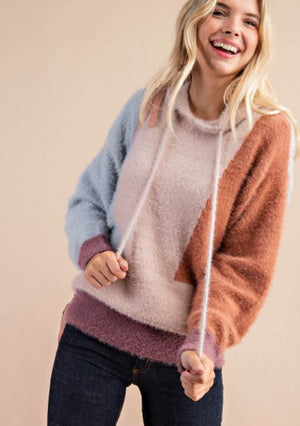 Mauve Color Block Sweater w/Hood