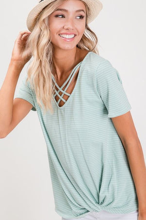 Striped Crisscross Top