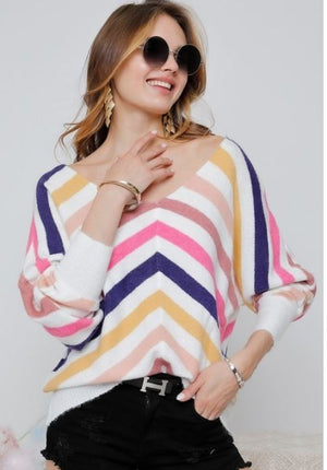 Multi Stripe U-Neck Knit Sweater