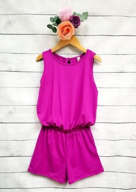 Neon Berry Girls Romper