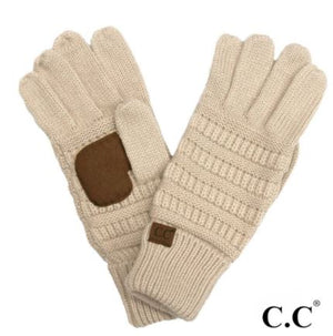 CC Solid Ribbed Smart Touch Gloves