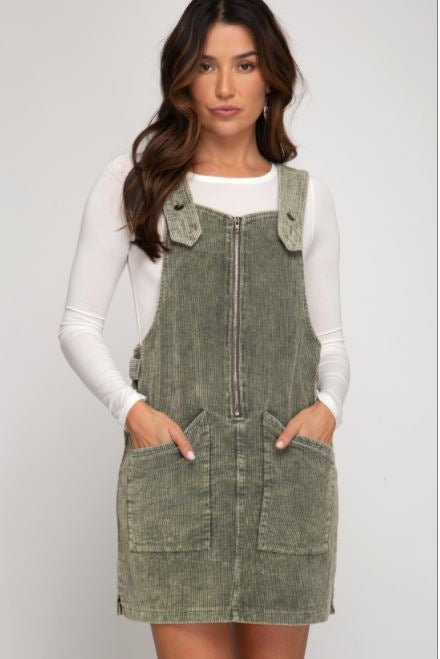 CORDUROY WASHED OVERALL DRESS