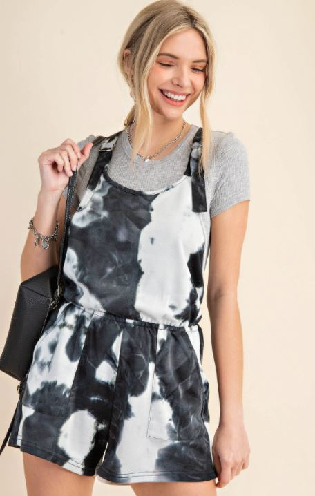 TIE-DYE FRENCH TERRY D-RING STRAP ROMPER