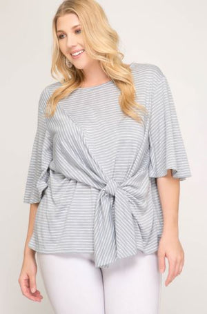 Side Tie Striped Top