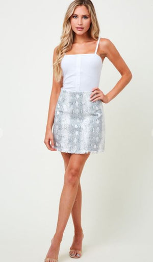 Snake Skin Denim Skirt
