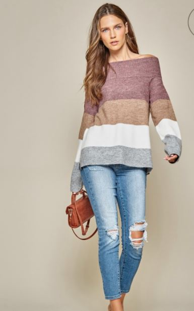 Off Shoulder Color Block Plum/Mocha