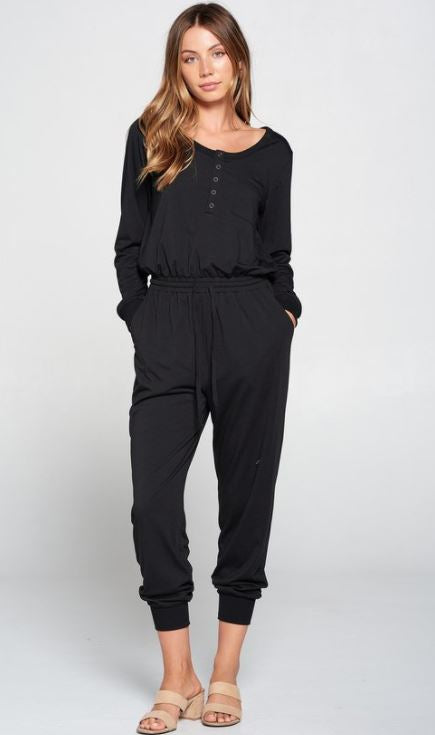 Solid Knit Jumpsuit w/Buttons