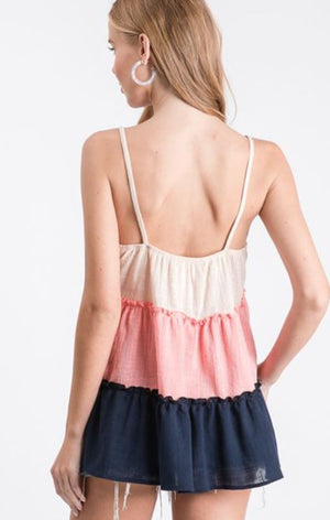 LINEN SPAGHETTI COLOR BLOCK BABYDOLL TOP