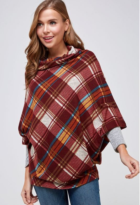 Plaid cape knit top with cowl neck