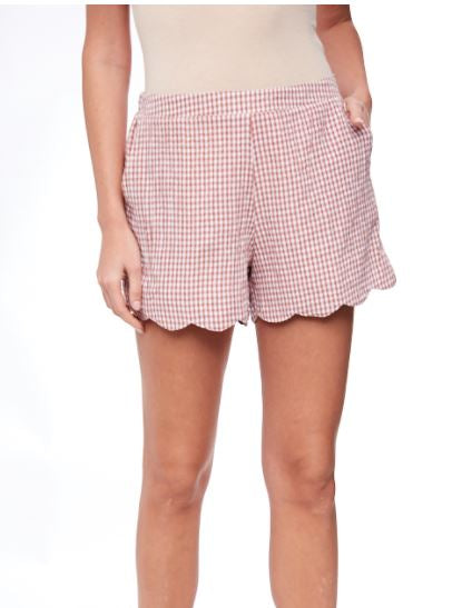 Brick Scallop Gingham Shorts