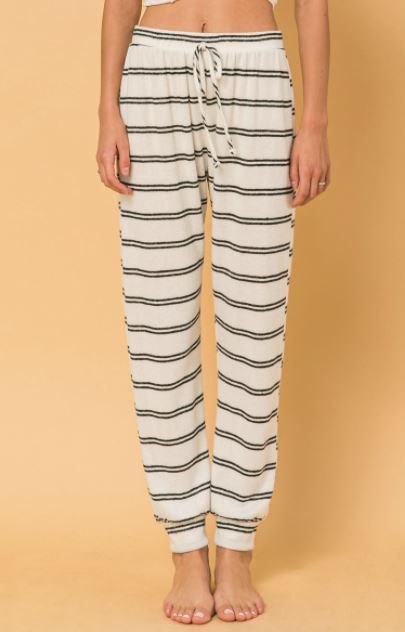 Blk/Wht Stripped Knit Jogger