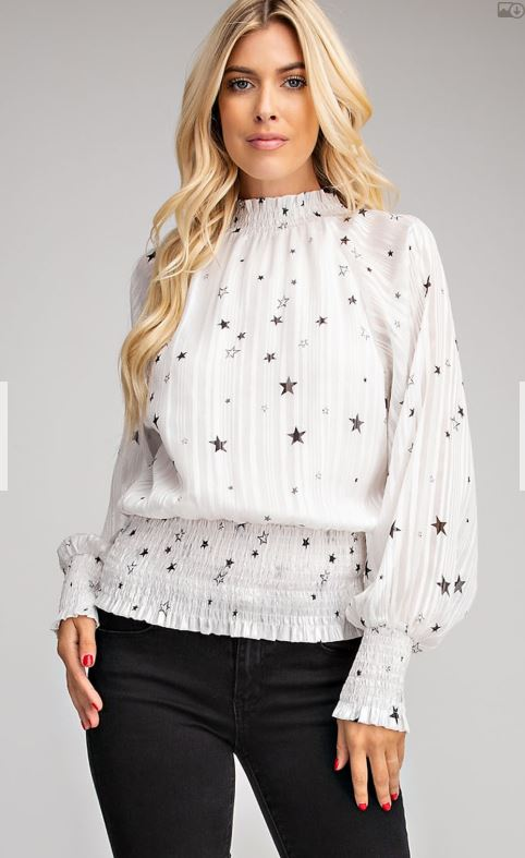 Star Print Smocked Blouse