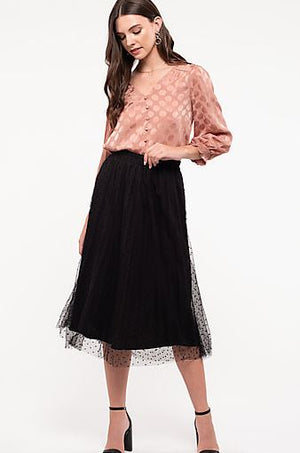 Swiss Dot Midi-Skirt-Black