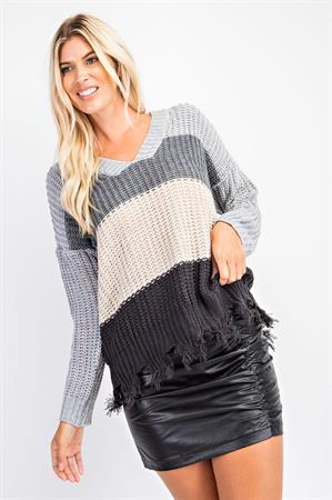 Grey Distressed Color Block Sweater