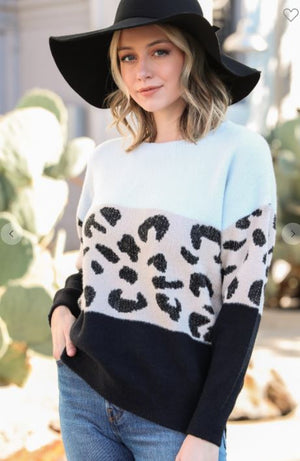 Black/White Animal Color Block Sweater