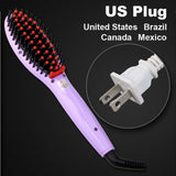 LD Pretty Brush Violet US Plug Electric hair straightener