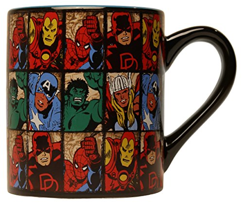 Silver Buffalo MV9132 Marvel Comics Grid Ceramic Mug, 14-Ounces