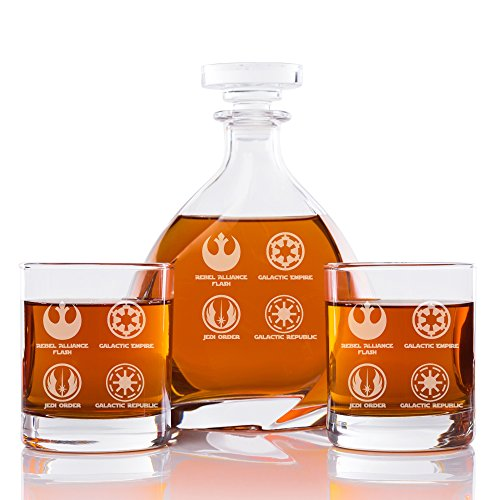 Abby Smith, Star Wars Logos Silhouette Engraved Madison Glass Decanter and Rocks Glasses (Set of 3)