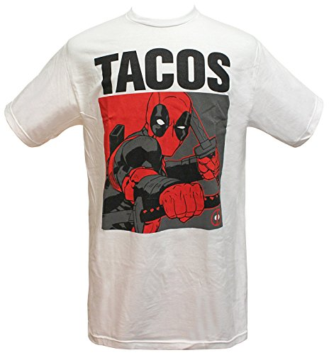 Marvel Deadpool Tacos Men's T-Shirt (Small, White)