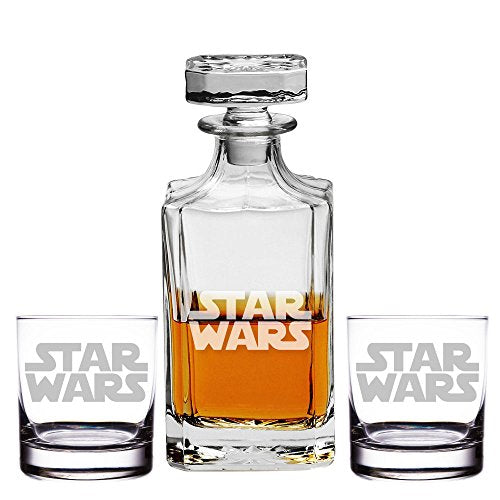 Abby Smith, Silhouette Star Wars Engraved Decanter and Rocks Glasses, Set of 3