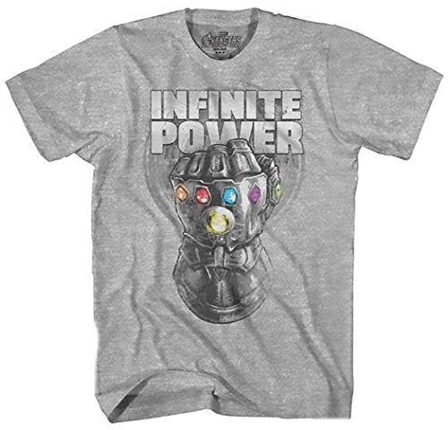 Marvel Avengers Infinity War Thanos Infinite Power Sketch Gauntlet Mens Graphic T-Shirt