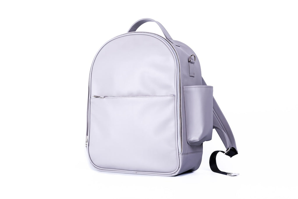 light gray backpack diaper bag