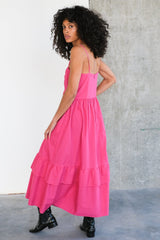 Bandeau Tier Ruffle Dress in Fuchsia